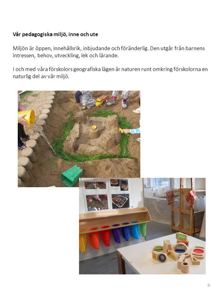 Vår pedagogiska miljö, inne och ute Miljön är öppen, innehållsrik, inbjudande och föränderlig.