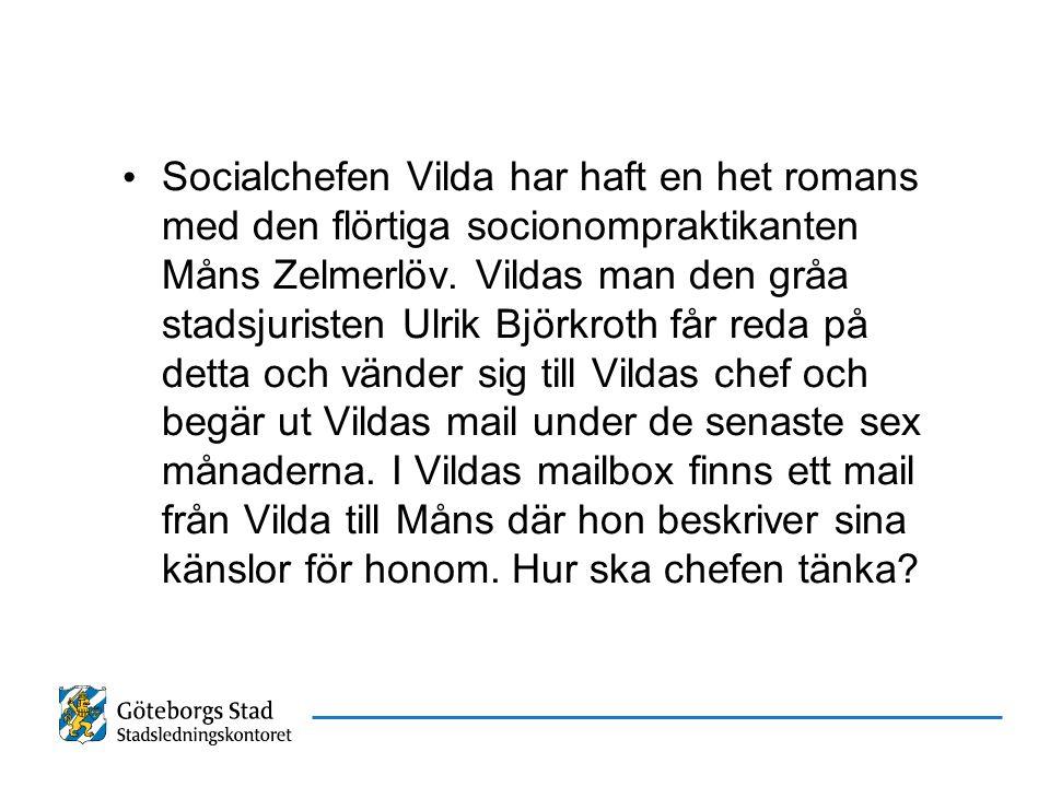 Socialchefen Vilda har haft en het romans med den flörtiga socionompraktikanten Måns Zelmerlöv. Vildas man den gråa stadsjuristen Ulrik Björkroth får