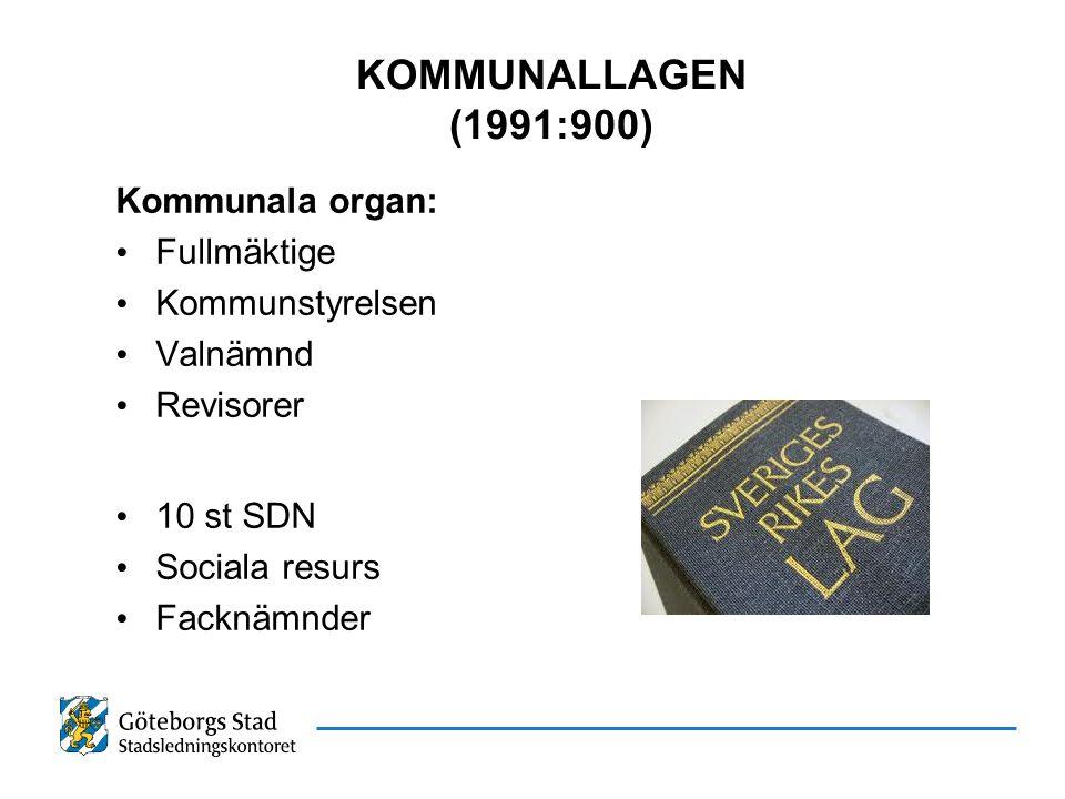 KOMMUNALLAGEN (1991:900) Kommunala organ: Fullmäktige Kommunstyrelsen Valnämnd Revisorer 10 st SDN Sociala resurs Facknämnder