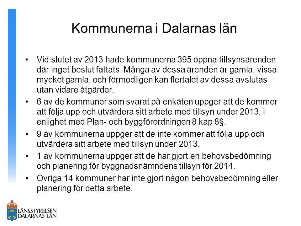 Kommunerna i Dalarnas län Vid slutet av 2013 hade kommunerna 395 öppna tillsynsärenden där inget beslut fattats.