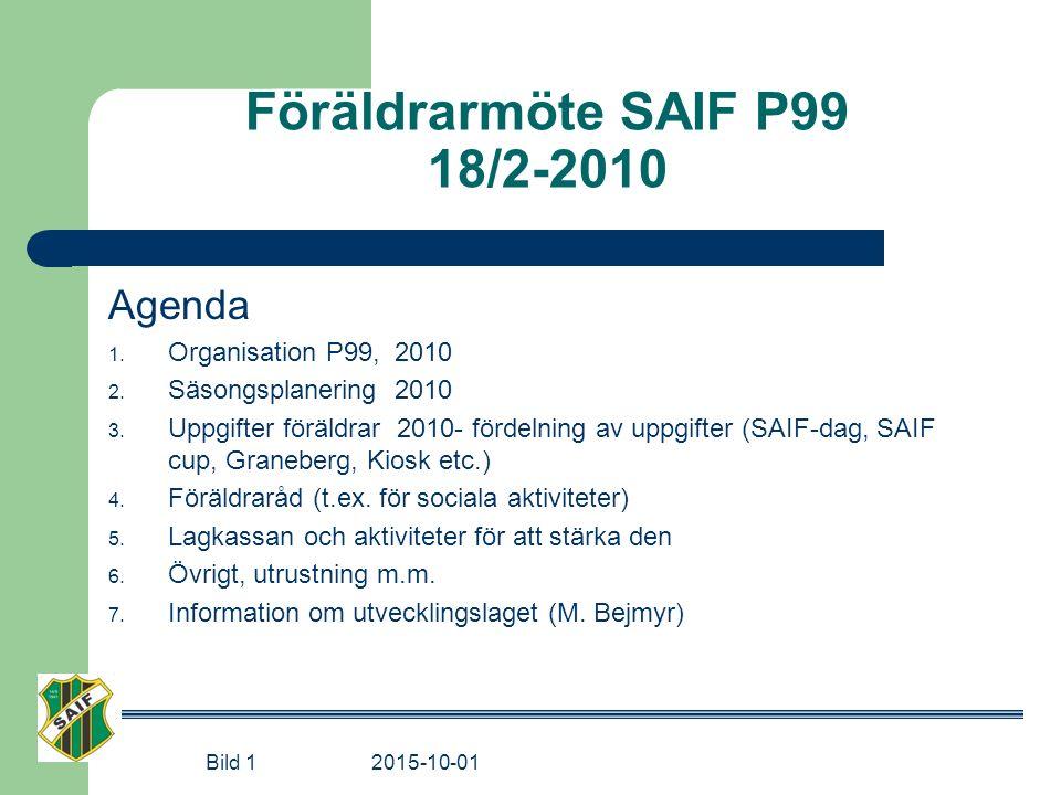 Föräldrarmöte SAIF P99 18/2-2010 Agenda 1. Organisation P99, 2010 2. Säsongsplanering 2010 3. Uppgifter föräldrar 2010- fördelning av uppgifter (SAIF-