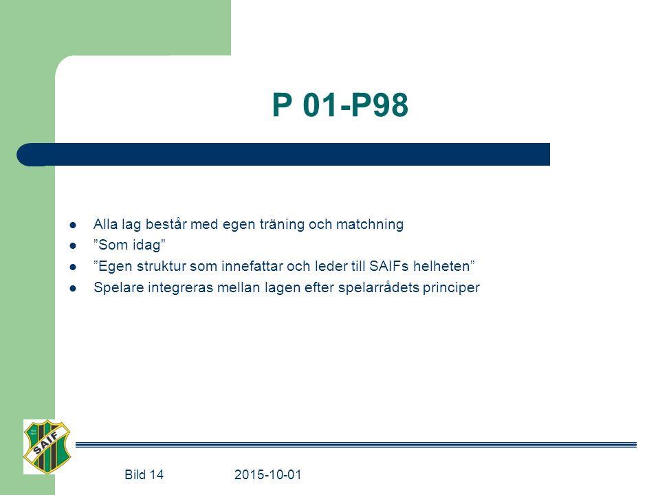 P 01-P98 Alla lag består med egen träning och matchning Som idag Egen struktur som innefattar och leder till SAIFs helheten Spelare integreras mellan lagen efter spelarrådets principer Bild 14 2015-10-01