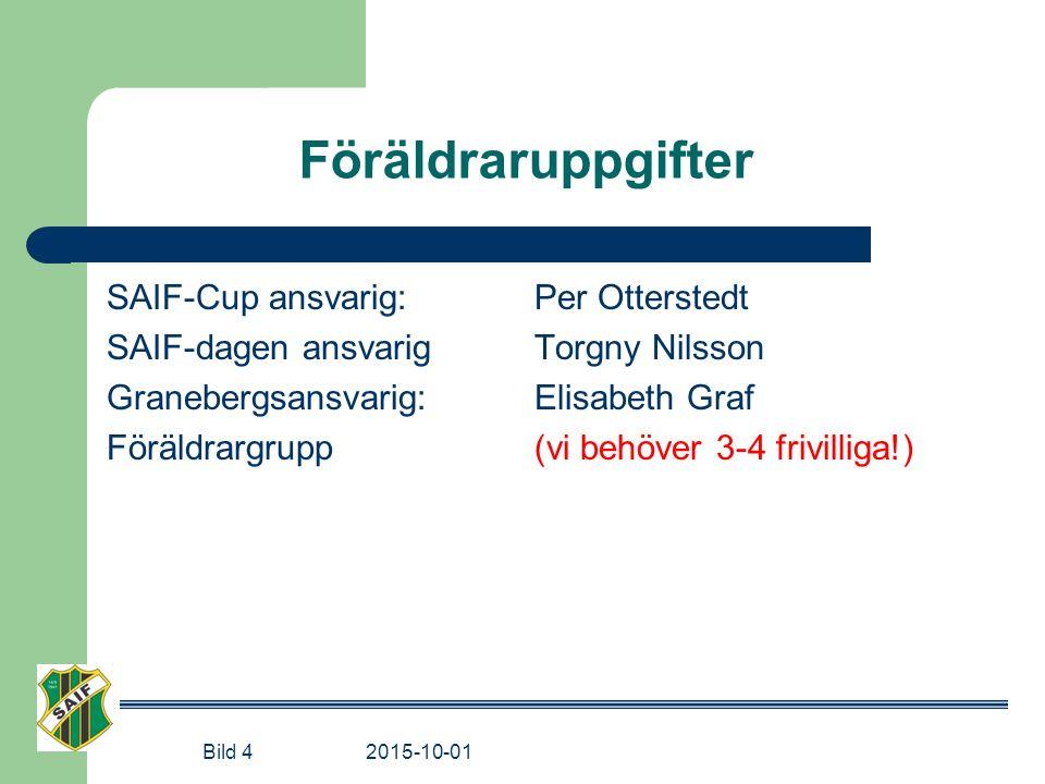 Föräldraruppgifter SAIF-Cup ansvarig: Per Otterstedt SAIF-dagen ansvarig Torgny Nilsson Granebergsansvarig: Elisabeth Graf Föräldrargrupp (vi behöver