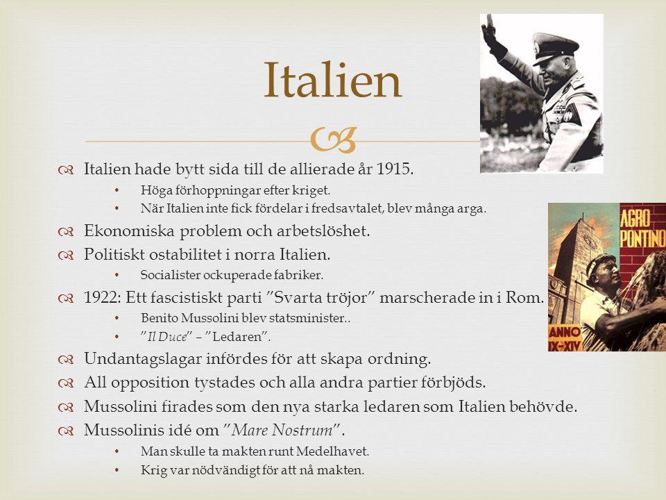   Italien hade bytt sida till de allierade år 1915. Höga förhoppningar efter kriget. När Italien inte fick fördelar i fredsavtalet, blev många arga.
