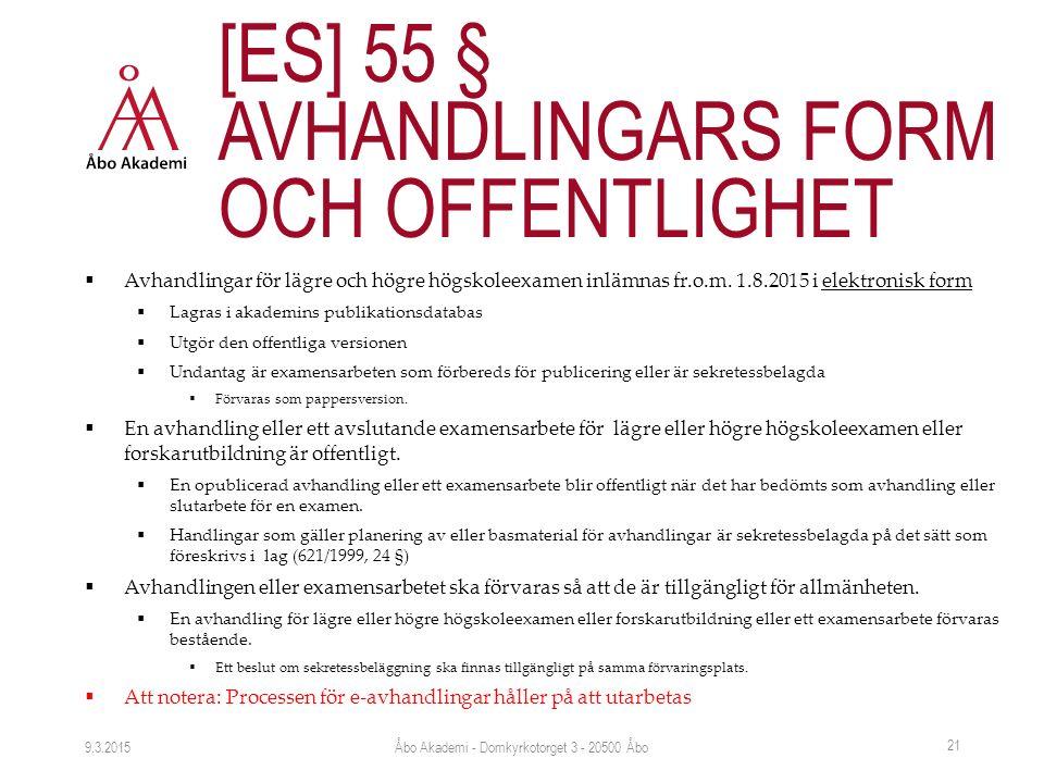  Avhandlingar för lägre och högre högskoleexamen inlämnas fr.o.m.
