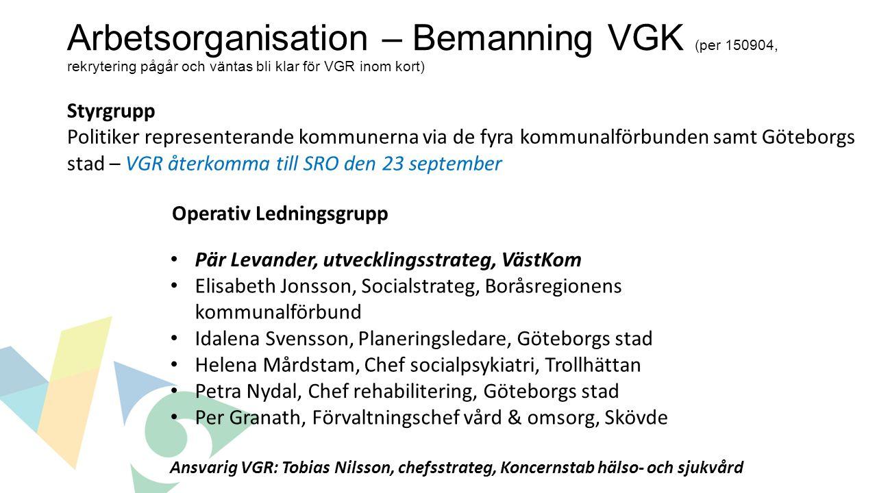 Arbetsorganisation – Bemanning VGK (per 150904, rekrytering pågår och väntas bli klar för VGR inom kort) Styrgrupp Politiker representerande kommunern