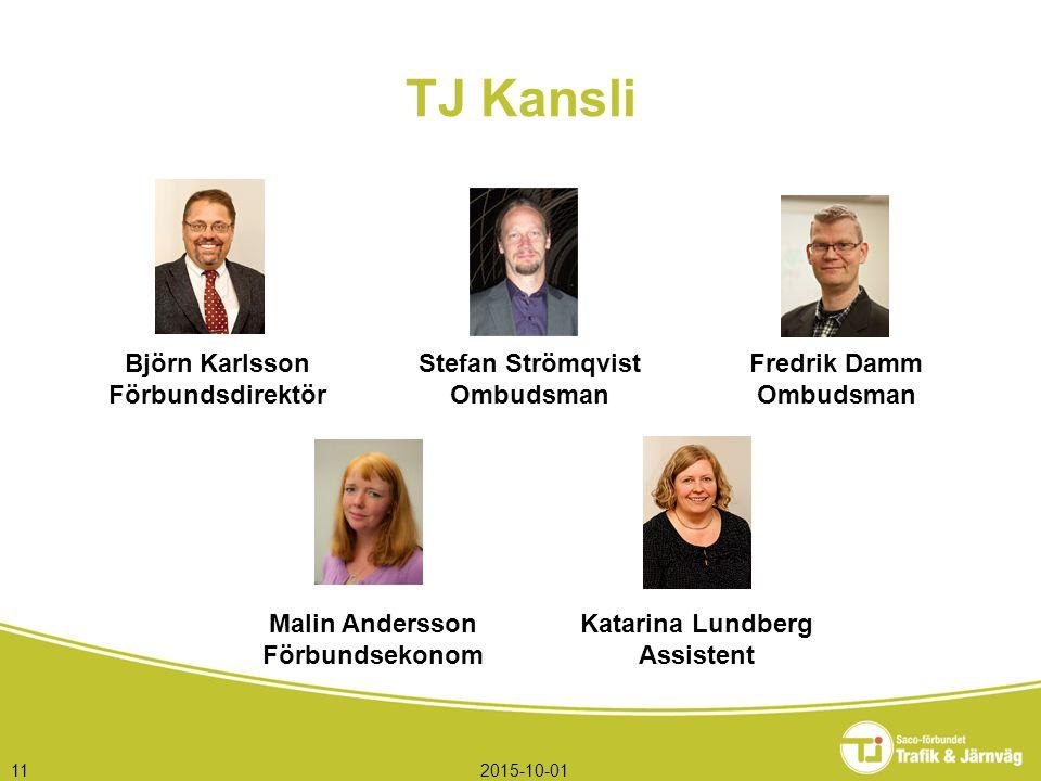 TJ Kansli 2015-10-0111 Björn Karlsson Förbundsdirektör Stefan Strömqvist Ombudsman Fredrik Damm Ombudsman Malin Andersson Förbundsekonom Katarina Lund