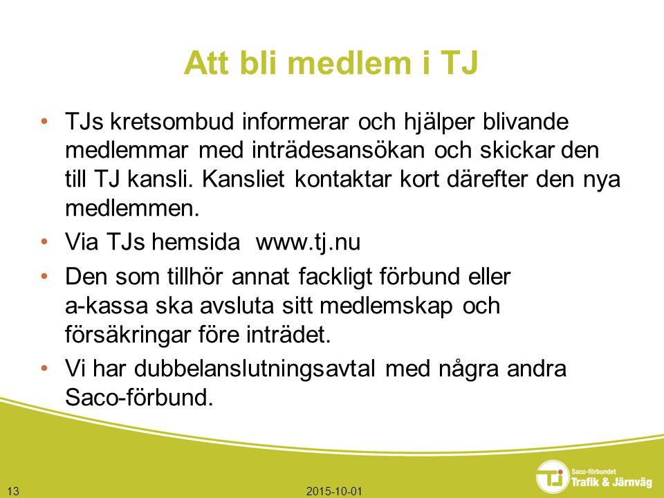 2015-10-0113 Att bli medlem i TJ TJs kretsombud informerar och hjälper blivande medlemmar med inträdesansökan och skickar den till TJ kansli. Kansliet