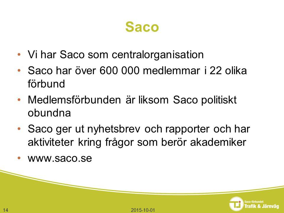 2015-10-0114 Saco Vi har Saco som centralorganisation Saco har över 600 000 medlemmar i 22 olika förbund Medlemsförbunden är liksom Saco politiskt obundna Saco ger ut nyhetsbrev och rapporter och har aktiviteter kring frågor som berör akademiker www.saco.se