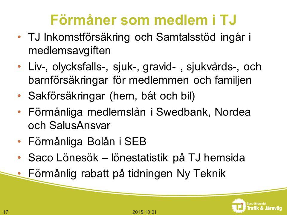 2015-10-0117 Förmåner som medlem i TJ TJ Inkomstförsäkring och Samtalsstöd ingår i medlemsavgiften Liv-, olycksfalls-, sjuk-, gravid-, sjukvårds-, och barnförsäkringar för medlemmen och familjen Sakförsäkringar (hem, båt och bil) Förmånliga medlemslån i Swedbank, Nordea och SalusAnsvar Förmånliga Bolån i SEB Saco Lönesök – lönestatistik på TJ hemsida Förmånlig rabatt på tidningen Ny Teknik