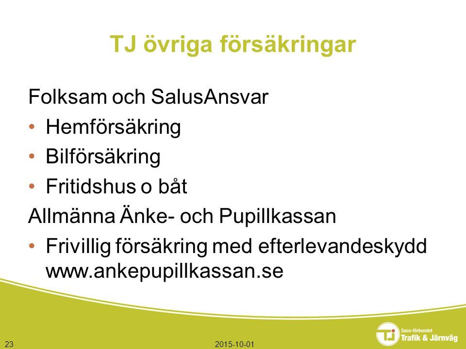2015-10-0123 TJ övriga försäkringar Folksam och SalusAnsvar Hemförsäkring Bilförsäkring Fritidshus o båt Allmänna Änke- och Pupillkassan Frivillig försäkring med efterlevandeskydd www.ankepupillkassan.se