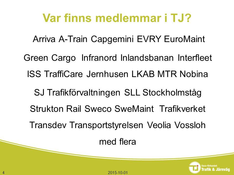 2015-10-014 Arriva A-Train Capgemini EVRY EuroMaint Green Cargo Infranord Inlandsbanan Interfleet ISS TraffiCare Jernhusen LKAB MTR Nobina SJ Trafikfö