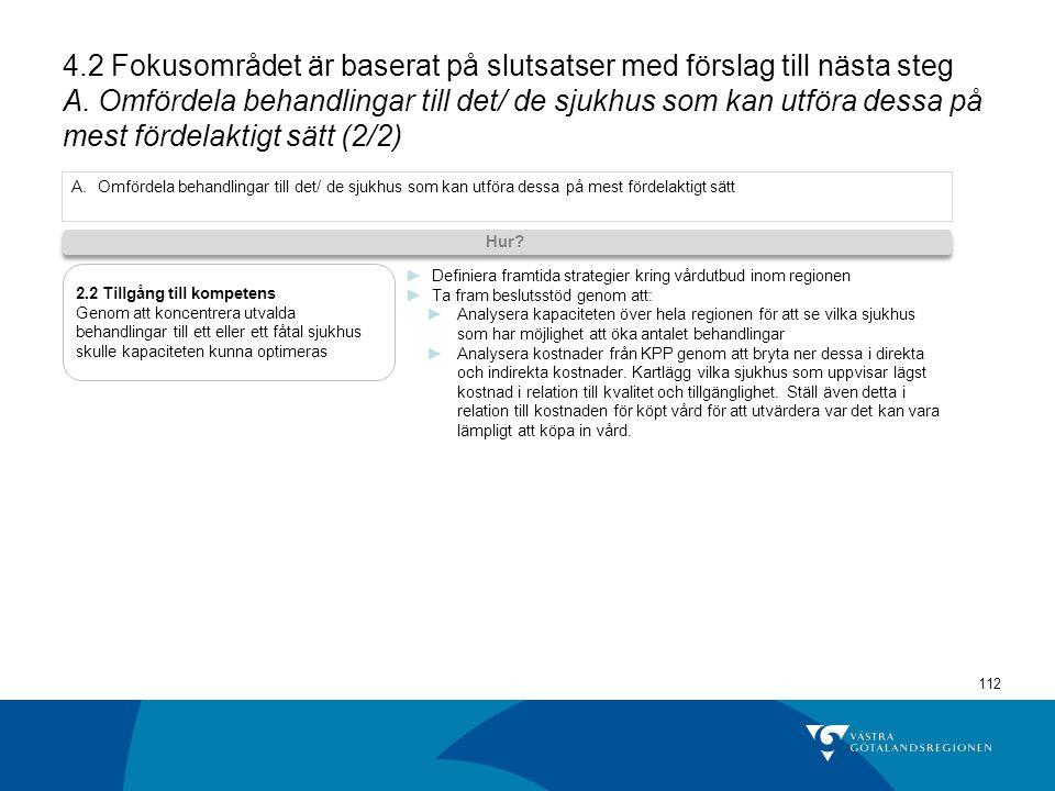 112 4.2 Fokusområdet är baserat på slutsatser med förslag till nästa steg A.