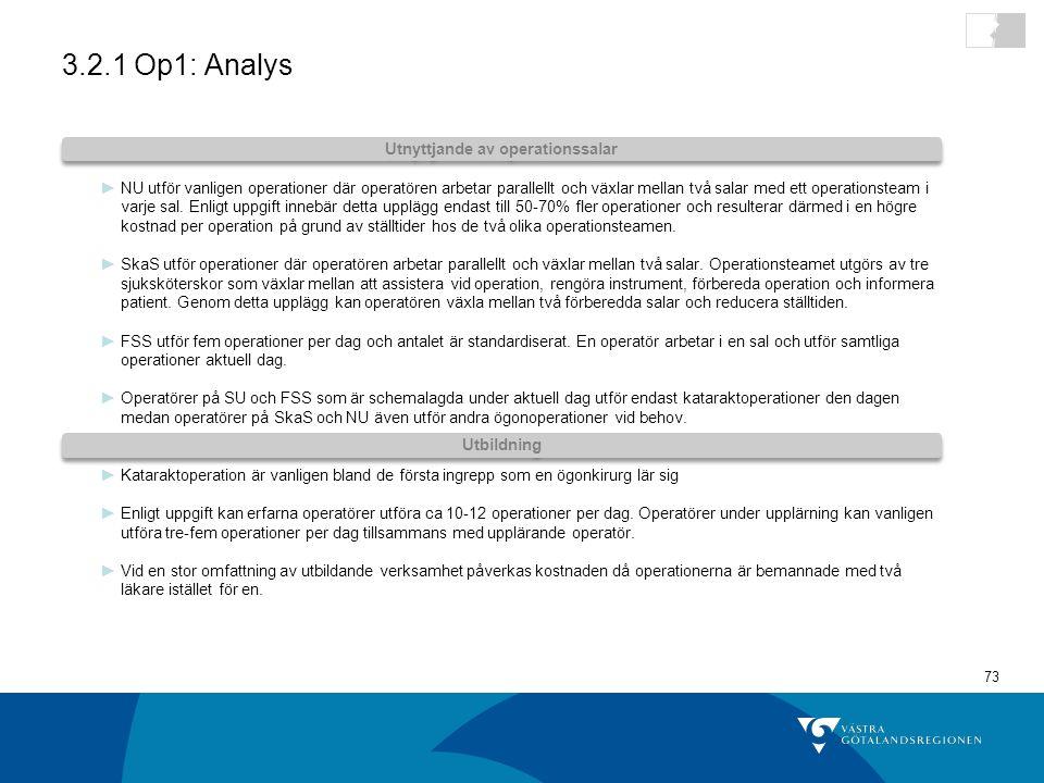 73 3.2.1 Op1: Analys ►NU utför vanligen operationer där operatören arbetar parallellt och växlar mellan två salar med ett operationsteam i varje sal.