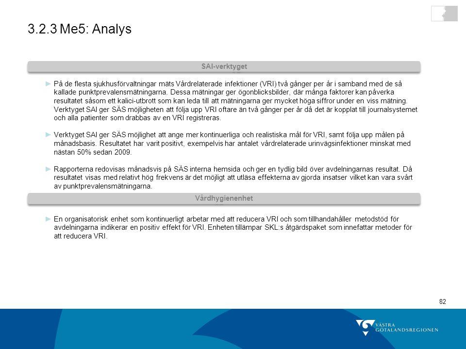 82 3.2.3 Me5: Analys ►På de flesta sjukhusförvaltningar mäts Vårdrelaterade infektioner (VRI) två gånger per år i samband med de så kallade punktprevalensmätningarna.