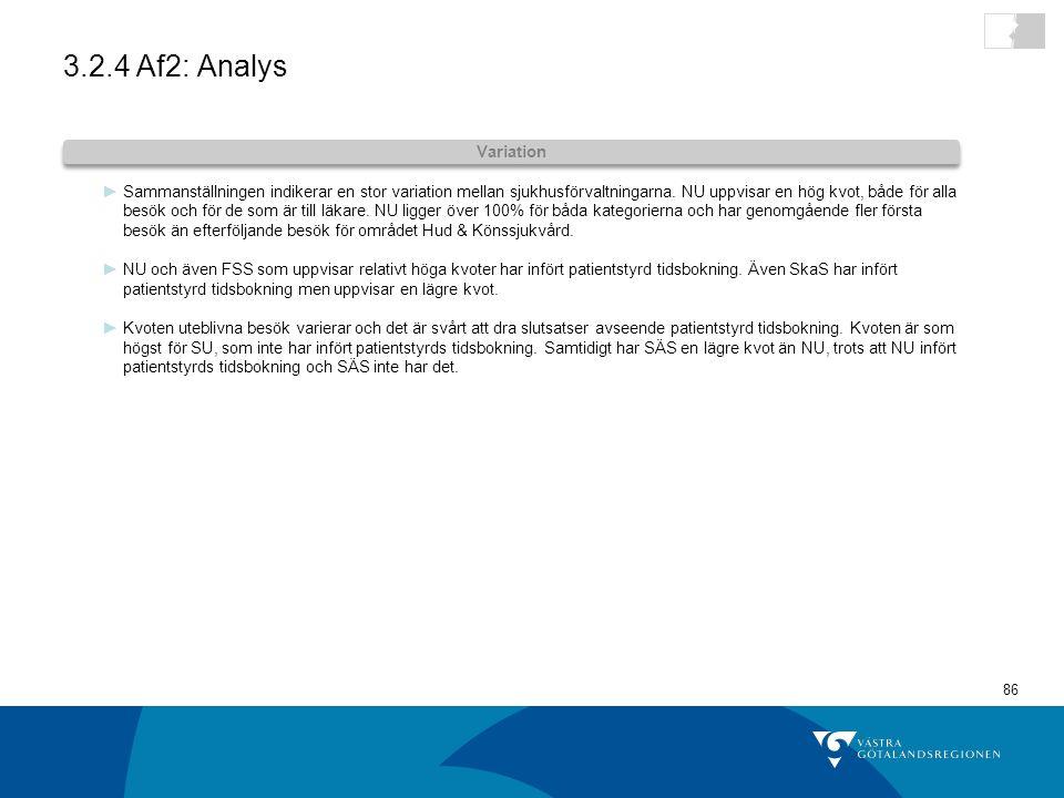 86 3.2.4 Af2: Analys ►Sammanställningen indikerar en stor variation mellan sjukhusförvaltningarna.