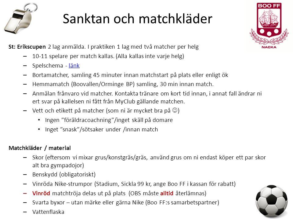 Sanktan och matchkläder St: Erikscupen 2 lag anmälda.