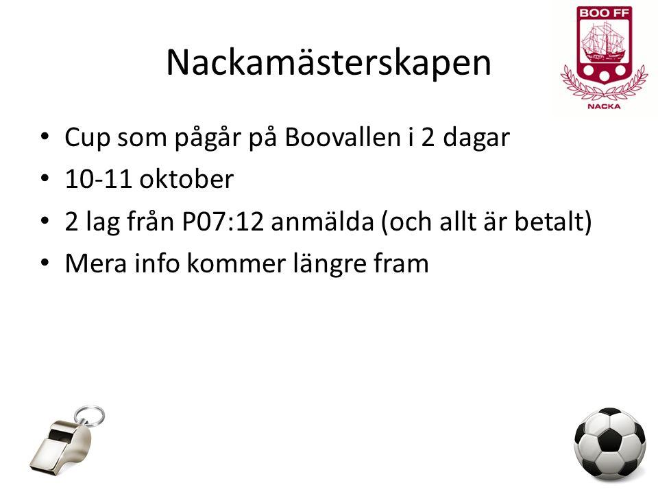 Nackamästerskapen Cup som pågår på Boovallen i 2 dagar 10-11 oktober 2 lag från P07:12 anmälda (och allt är betalt) Mera info kommer längre fram