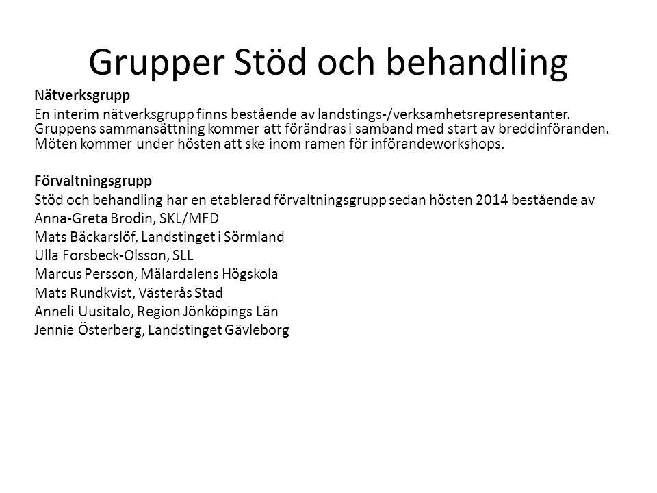 Grupper Stöd och behandling Nätverksgrupp En interim nätverksgrupp finns bestående av landstings-/verksamhetsrepresentanter.