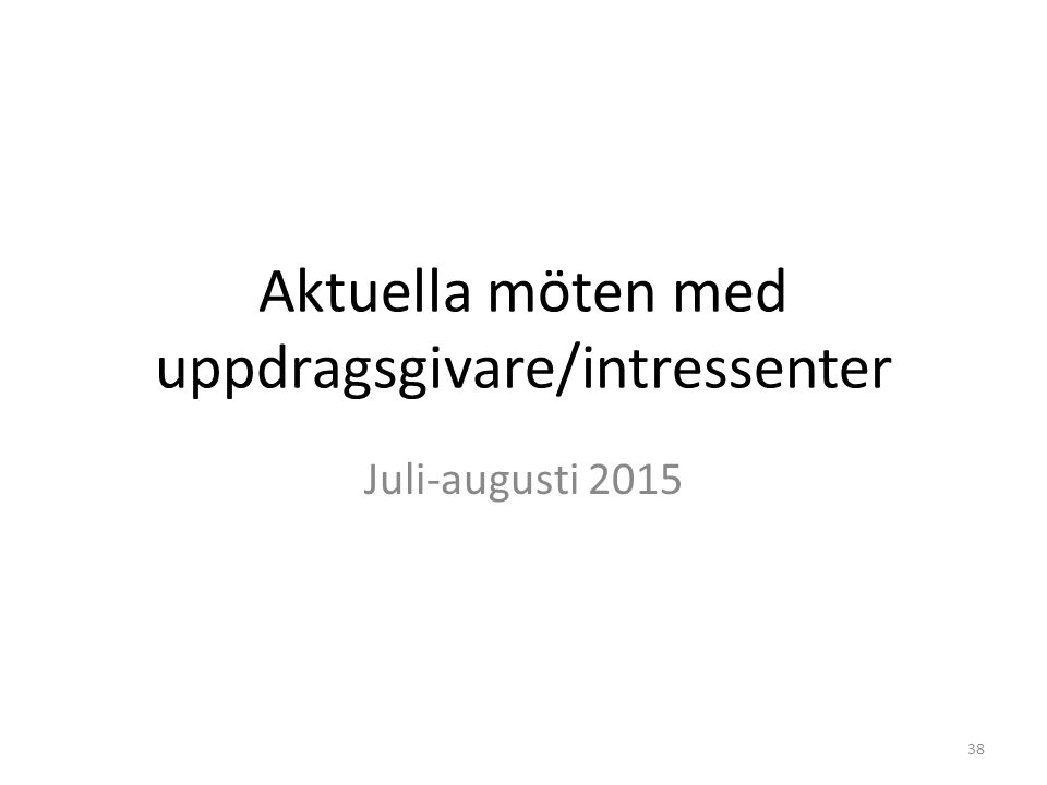 Aktuella möten med uppdragsgivare/intressenter Juli-augusti 2015 38