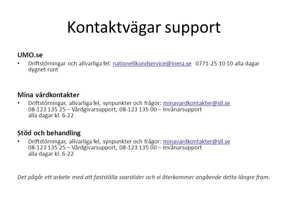 Kontaktvägar support UMO.se Driftstörningar och allvarliga fel: nationellkundservice@inera.se 0771-25 10 10 alla dagar dygnet runtnationellkundservice@inera.se Mina vårdkontakter Driftstörningar, allvarliga fel, synpunkter och frågor: minavardkontakter@sll.se 08-123 135 25 – Vårdgivarsupport, 08-123 135 00 – Invånarsupport alla dagar kl.