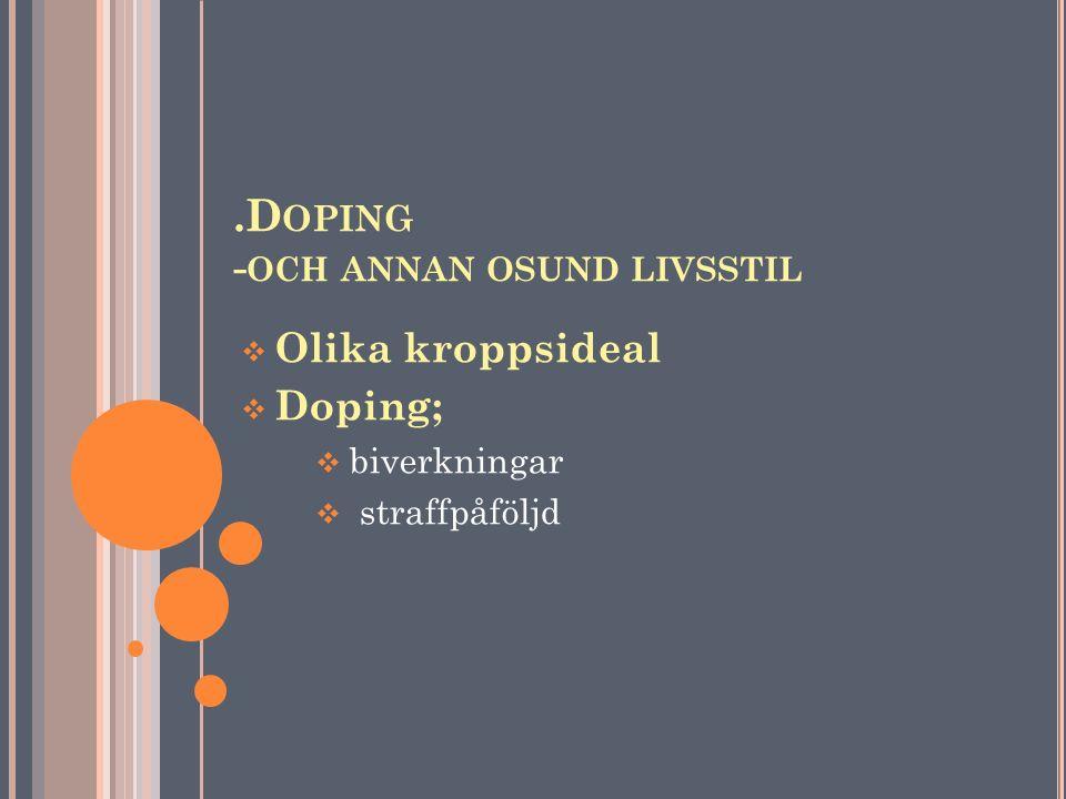 .D OPING - OCH ANNAN OSUND LIVSSTIL  Olika kroppsideal  Doping;  biverkningar  straffpåföljd