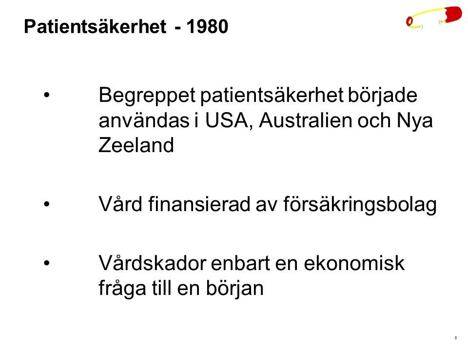 8 Patientsäkerhet - 1980 Begreppet patientsäkerhet började användas i USA, Australien och Nya Zeeland Vård finansierad av försäkringsbolag Vårdskador enbart en ekonomisk fråga till en början