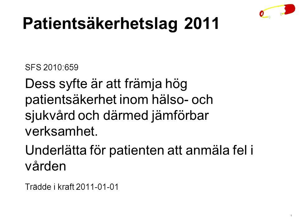1 Patientsäkerhetslag 2011 SFS 2010:659 Dess syfte är att främja hög patientsäkerhet inom hälso- och sjukvård och därmed jämförbar verksamhet.
