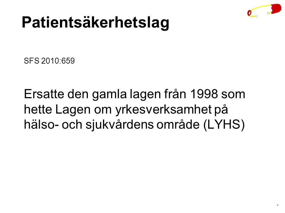 4 Patientsäkerhetslag SFS 2010:659 Ersatte den gamla lagen från 1998 som hette Lagen om yrkesverksamhet på hälso- och sjukvårdens område (LYHS)