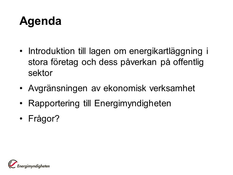 Agenda Introduktion till lagen om energikartläggning i stora företag och dess påverkan på offentlig sektor Avgränsningen av ekonomisk verksamhet Rappo