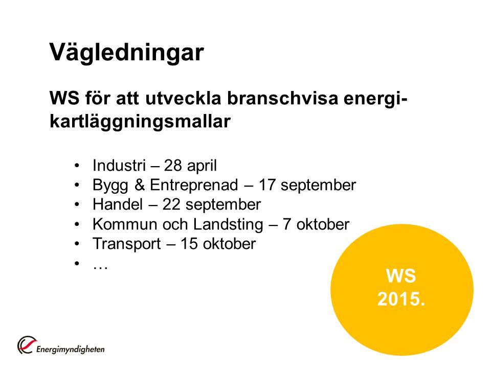 Vägledningar WS för att utveckla branschvisa energi- kartläggningsmallar Industri – 28 april Bygg & Entreprenad – 17 september Handel – 22 september K