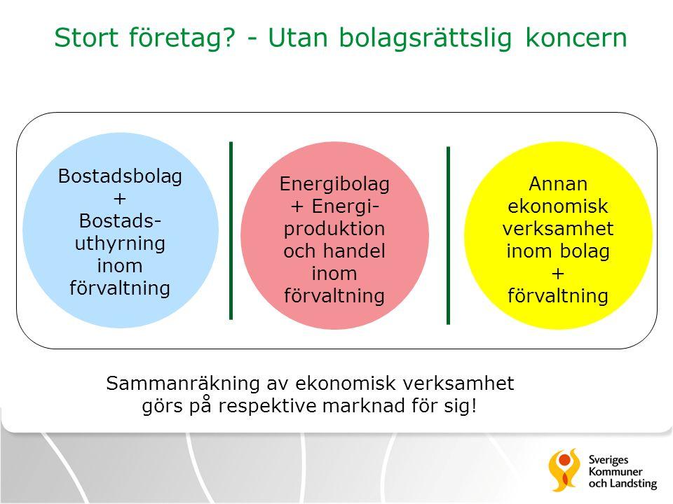 Stort företag? - Utan bolagsrättslig koncern Bostadsbolag + Bostads- uthyrning inom förvaltning Energibolag + Energi- produktion och handel inom förva