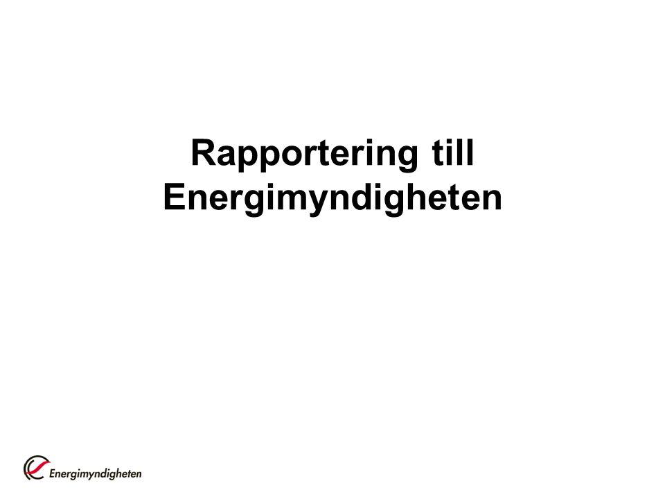 Rapportering till Energimyndigheten