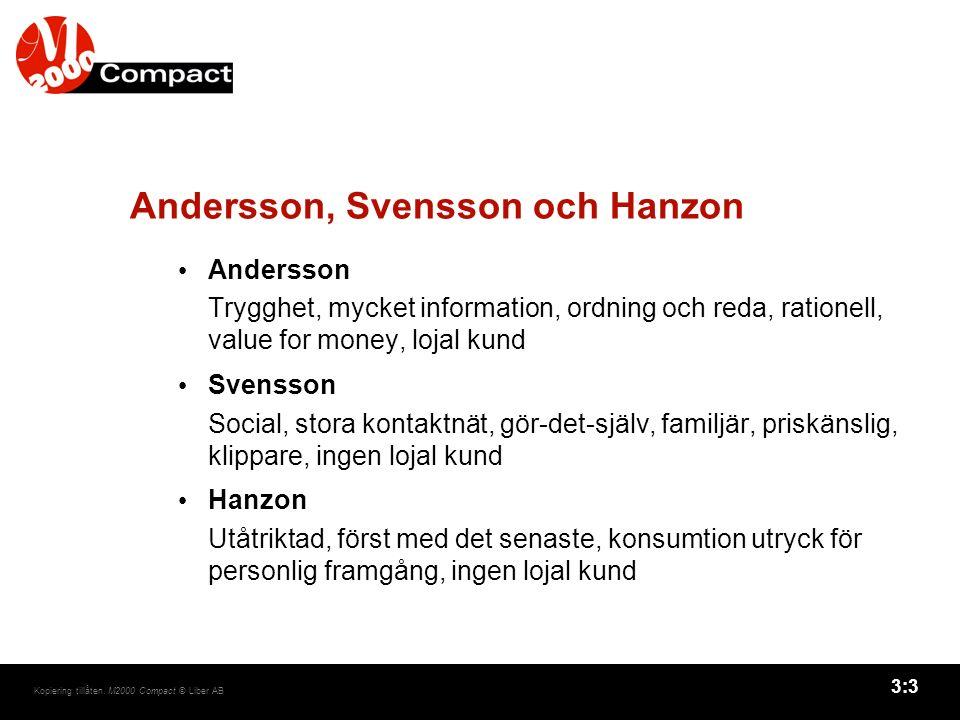3:3 Kopiering tillåten. M2000 Compact © Liber AB Andersson, Svensson och Hanzon Andersson Trygghet, mycket information, ordning och reda, rationell, v