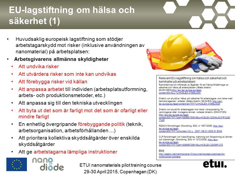EU-lagstiftning om hälsa och säkerhet (1) Huvudsaklig europeisk lagstiftning som stödjer arbetstagarskydd mot risker (inklusive användningen av nanomaterial) på arbetsplatsen: Arbetsgivarens allmänna skyldigheter Att undvika risker Att utvärdera risker som inte kan undvikas Att förebygga risker vid källan Att anpassa arbetet till individen (arbetsplatsutformning, arbets- och produktionsmetoder, etc.) Att anpassa sig till den tekniska utvecklingen Att byta ut det som är farligt mot det som är ofarligt eller mindre farligt En enhetlig övergripande förebyggande politik (teknik, arbetsorganisation, arbetsförhållanden...) Att prioritera kollektiva skyddsåtgärder över enskilda skyddsåtgärder Att ge arbetstagarna lämpliga instruktioner Relevant EU-lagstiftning om hälsa och säkerhet och kemikalier på arbetsplatsen: Ramdirektivet om införande av åtgärder för att främja förbättringar av säkerhet och hälsa på arbetsplatsen (rådets direktiv 89/391/EEG)http://eur-lex.europa.eu/legal- content/EN/ALL/ uri=CELEX:31989L0391http://eur-lex.europa.eu/legal- content/EN/ALL/ uri=CELEX:31989L0391 Direktiv om skydd av hälsa och säkerhet för arbetstagare mot risker med kemiska agenser i arbetet (rådets direktiv 98/24/EG) http://eur- lex.europa.eu/legal-content/en/TXT/ uri=CELEX:31998L0024http://eur- lex.europa.eu/legal-content/en/TXT/ uri=CELEX:31998L0024 Direktiv om skydd för arbetstagare mot risker vid exponering för carcinogener eller mutagena ämnen i arbetet (direktiv 2004/37/EG) http://eur-lex.europa.eu/legal- content/EN/TXT/ qid=1426590790616&uri=CELEX:32004L0037R%280 1%29 http://eur-lex.europa.eu/legal- content/EN/TXT/ qid=1426590790616&uri=CELEX:32004L0037R%280 1%29 REACH-förordningen (förordning (EG) nr 1907/2006) http://eur- lex.europa.eu/legal- content/EN/TXT/ uri=uriserv:OJ.L_.2007.136.01.0003.01.ENGhttp://eur- lex.europa.eu/legal- content/EN/TXT/ uri=uriserv:OJ.L_.2007.136.01.0003.01.ENG CLP-förordningen om klassificering, märkning och förpackning av ämnen och blandningar (föro