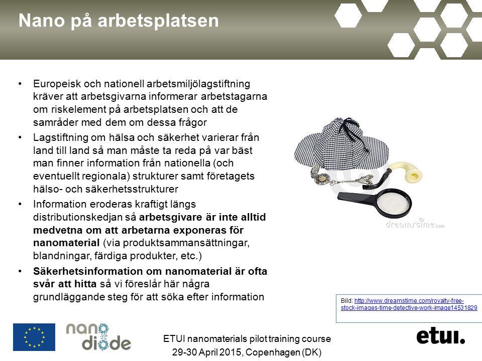 Nano på arbetsplatsen Europeisk och nationell arbetsmiljölagstiftning kräver att arbetsgivarna informerar arbetstagarna om riskelement på arbetsplatse