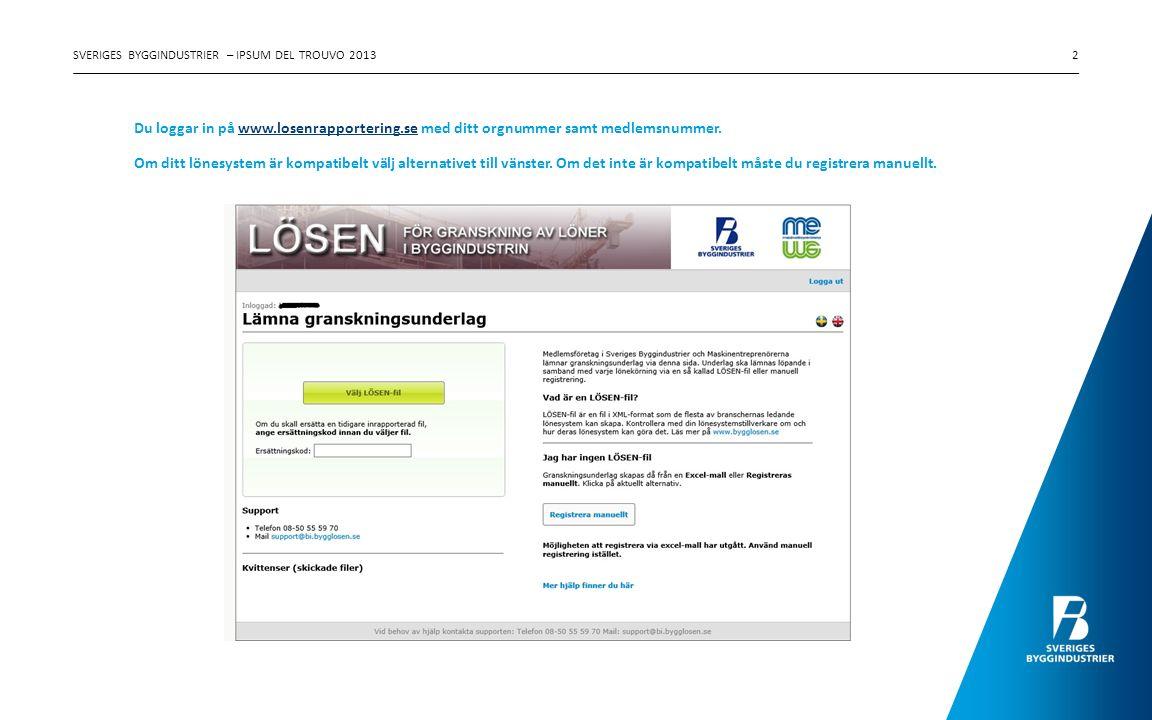 Du loggar in på www.losenrapportering.se med ditt orgnummer samt medlemsnummer.