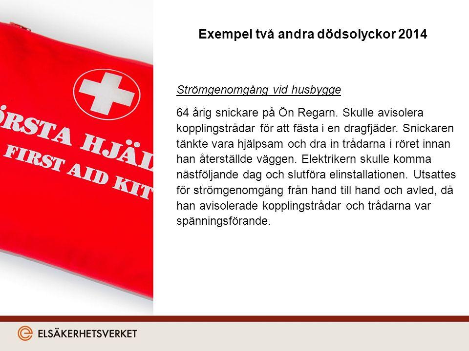 Exempel två andra dödsolyckor 2014 Strömgenomgång vid husbygge 64 årig snickare på Ön Regarn.