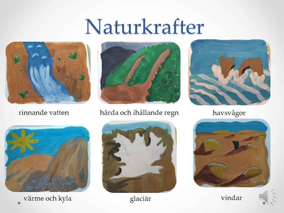 Naturkrafter rinnande vattenhårda och ihållande regn havsvågor värme och kyla glaciär vindar