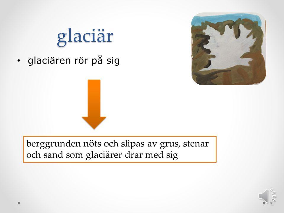 glaciär glaciären rör på sig berggrunden nöts och slipas av grus, stenar och sand som glaciärer drar med sig