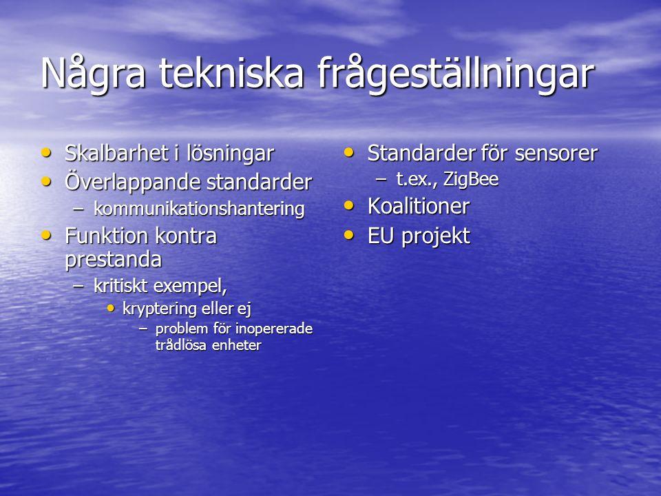 Några tekniska frågeställningar Skalbarhet i lösningar Skalbarhet i lösningar Överlappande standarder Överlappande standarder –kommunikationshantering Funktion kontra prestanda Funktion kontra prestanda –kritiskt exempel, kryptering eller ej kryptering eller ej –problem för inopererade trådlösa enheter Standarder för sensorer Standarder för sensorer –t.ex., ZigBee Koalitioner Koalitioner EU projekt EU projekt