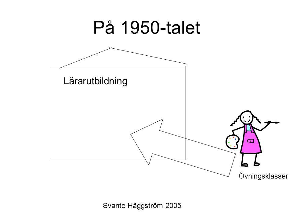 Svante Häggström 2005 På 1950-talet Lärarutbildning Övningsklasser