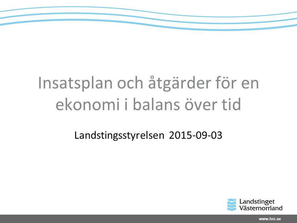 www.lvn.se Insatsplan och åtgärder för en ekonomi i balans över tid Landstingsstyrelsen 2015-09-03
