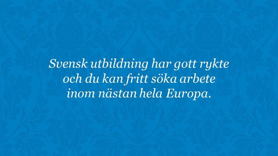 Svensk utbildning har gott rykte och du kan fritt söka arbete inom nästan hela Europa.