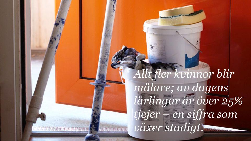 Allt fler kvinnor blir målare; av dagens lärlingar är över 25% tjejer – en siffra som växer stadigt.