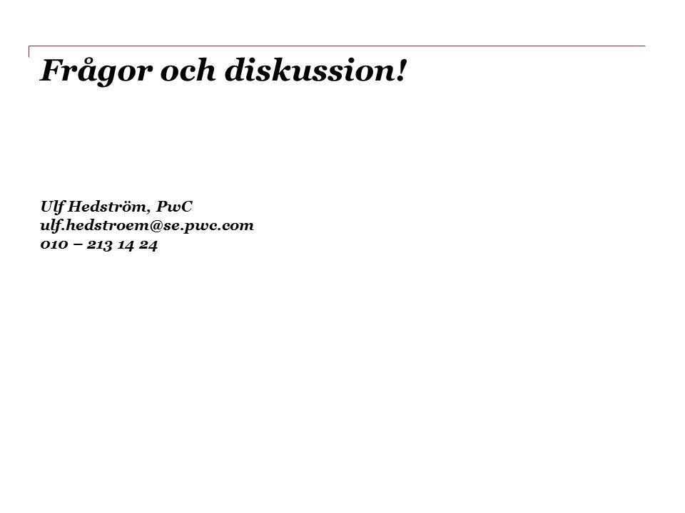 Frågor och diskussion! Ulf Hedström, PwC ulf.hedstroem@se.pwc.com 010 – 213 14 24