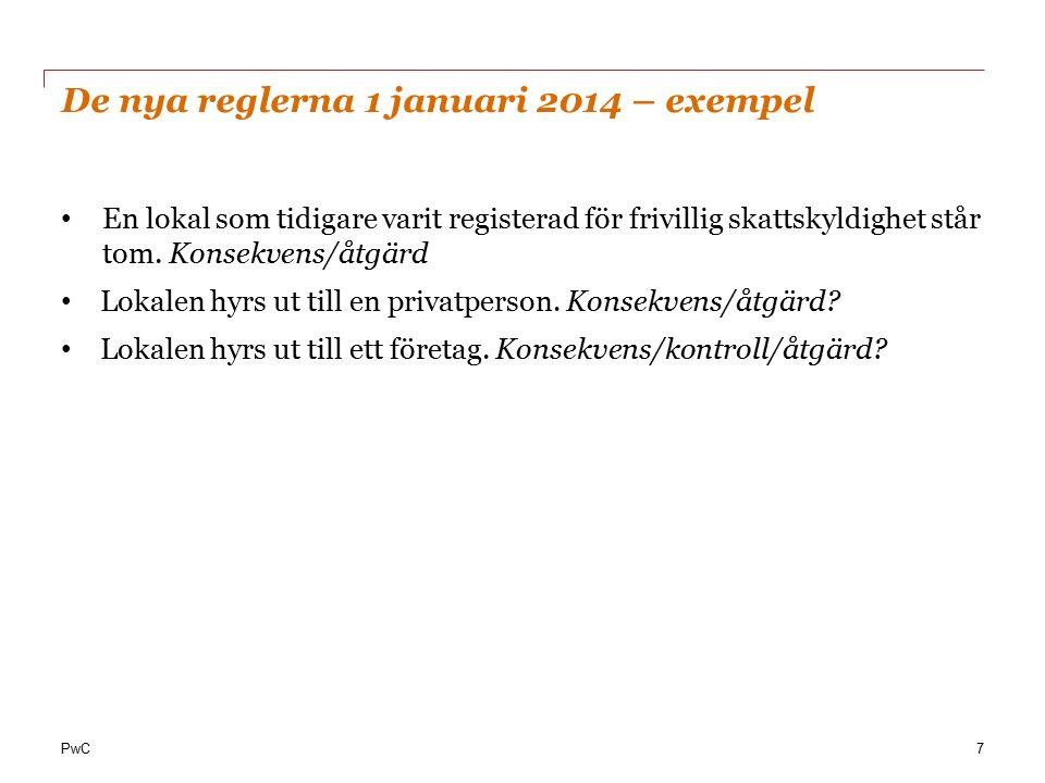 PwC De nya reglerna 1 januari 2014 – exempel (forts.) En lokal som inte tidigare varit registrerad för frivillig skattskyldighet står tom.