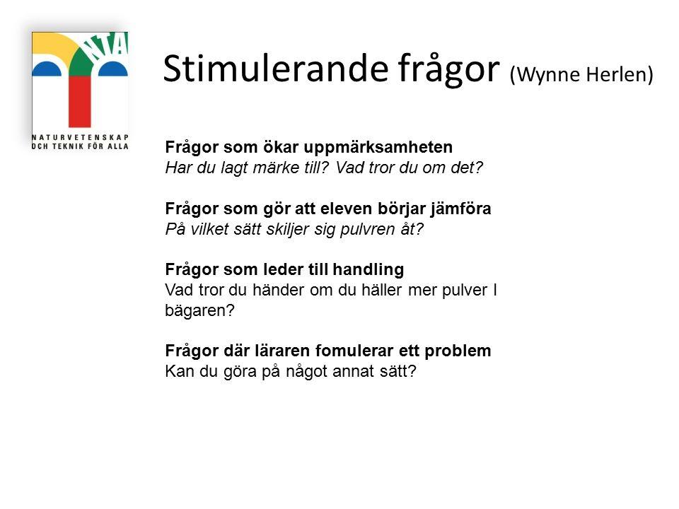 Stimulerande frågor (Wynne Herlen) Frågor som ökar uppmärksamheten Har du lagt märke till? Vad tror du om det? Frågor som gör att eleven börjar jämför