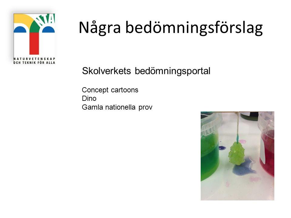 Några bedömningsförslag Skolverkets bedömningsportal Concept cartoons Dino Gamla nationella prov