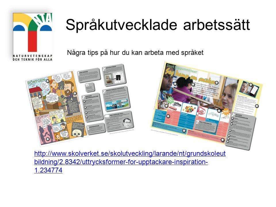 http://www.skolverket.se/skolutveckling/larande/nt/grundskoleut bildning/2.8342/uttrycksformer-for-upptackare-inspiration- 1.234774 Språkutvecklade ar